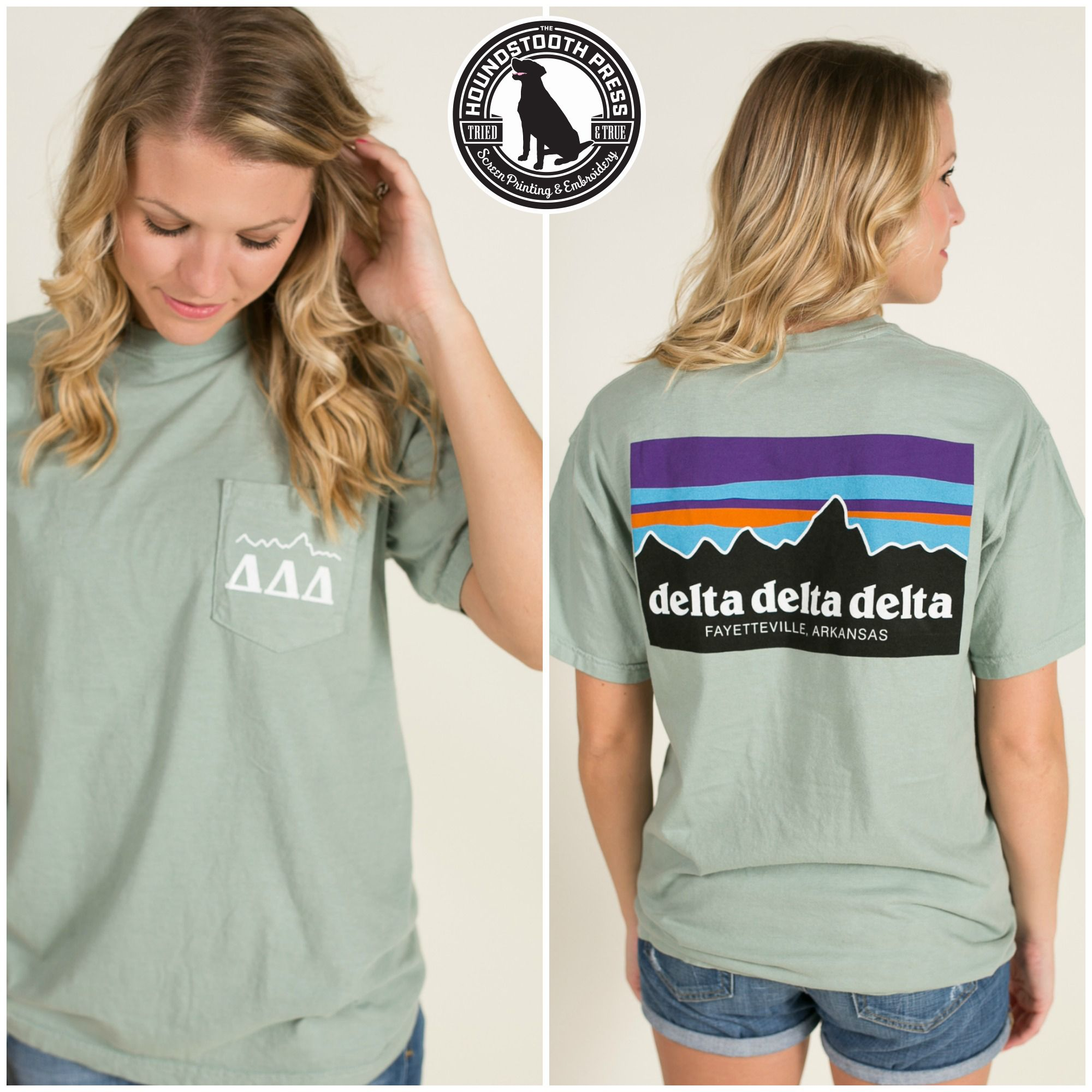 University of Arkansas Tri Delta Mountain T-Shirt. Comfort Colors, Bay. Love The Lab - Custom Designs - Delta Delta Delta.