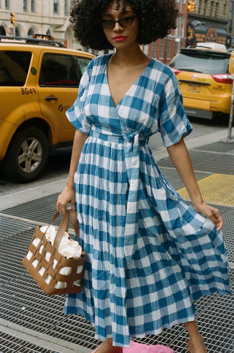 MARA HOFFMAN   Ingrid Dress - Blue & White Gingham #whitedress