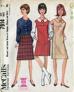 Sewing Patterns,Vintage,Out of Print,Retro,Vogue Simplicity McCall's,Over 7000 - McCall's 7974 Retro 1960's Mod Dress Top Skirt 31