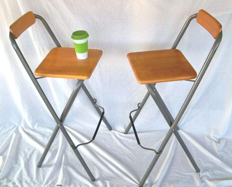 Pair Of Vintage Folding Bar Stools From Leapinglemming Folding