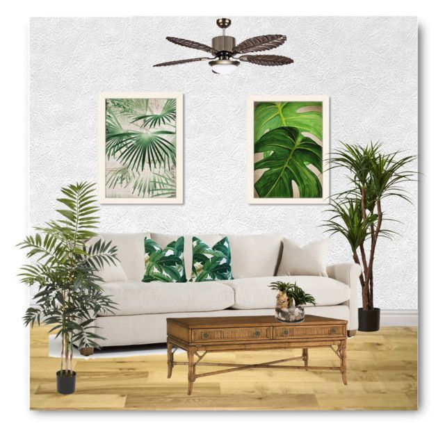 """""""Tropical Glam"""" by bliznec ❤ liked on Polyvore featuring interior, interiors, interior design, home, home decor, interior decorating, Americanflat, John-Richard, Nearly Natural and homedecor"""