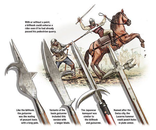 Pole Arms Illustration By Gregory Proch Poleaxes