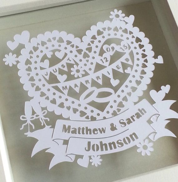 Personalised Wedding Papercut Framed Wedding Keepsake Custom