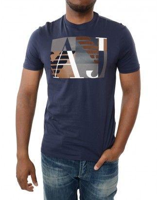 ef9fe9b96 Armani Jeans Navy Big Mix Logo T-Shirt front