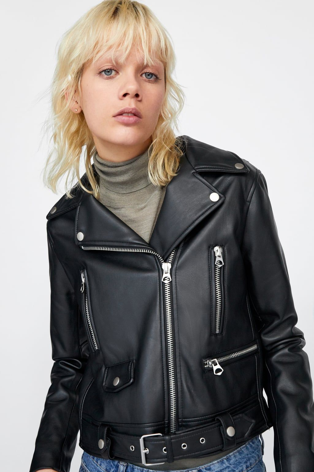 Faux leather jacket with zips Jackets, Zipper jacket