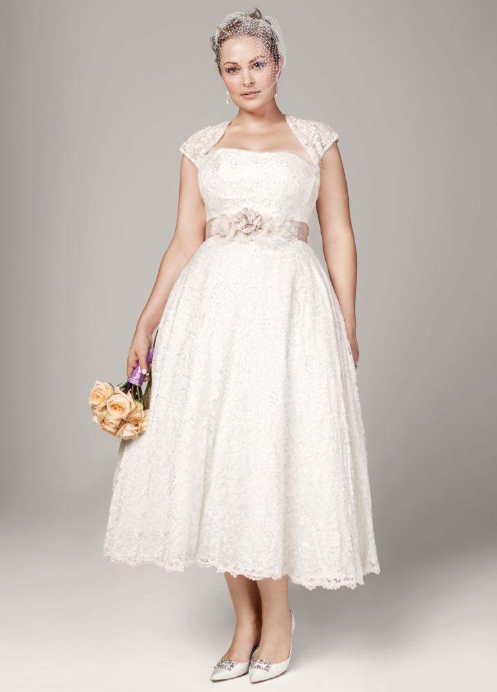 David\'s Bridal Strapless Tea-Length Wedding Dress with Cap Sleeve Shrug