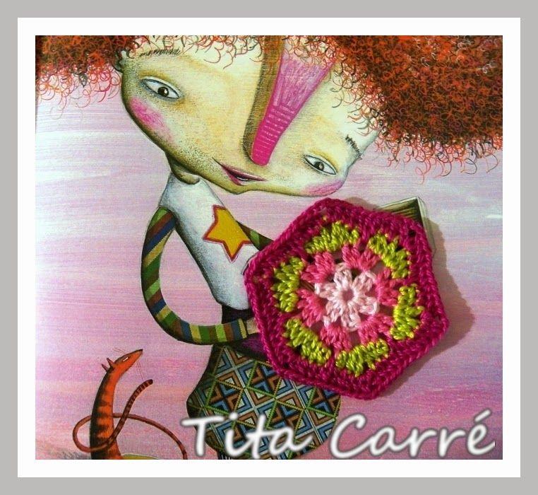 A menina ruiva e o hexágono África em crochet