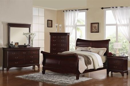 Ac20210 Darien Dark Cherry Solid Wood Sleigh Bed Dark Wood Bedroom Furniture Wood Bedroom