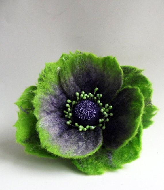 Felted wool flower brooch hair clip made entirely by hand using the wet felting technique from finest merino wool and silk tops. by FeltFatal #feltedwoolanimals