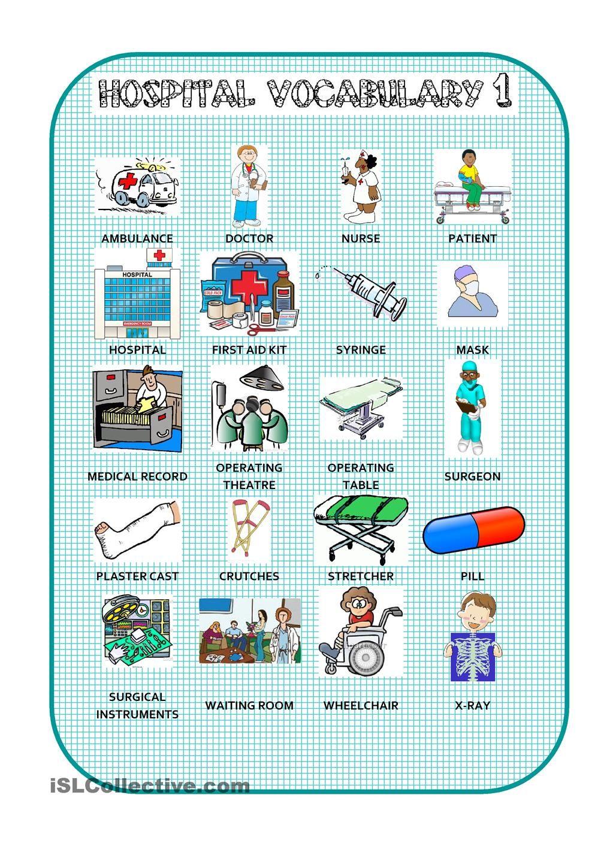 Hospital Vocabulary 1 | English | Pinterest | Worksheets, Picture ...