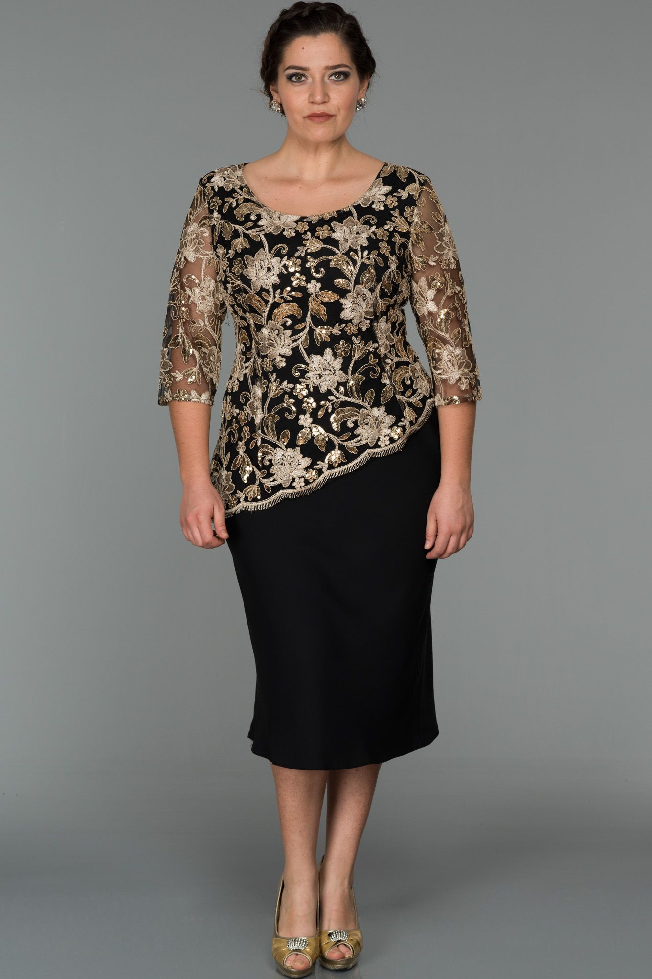 Siyah Gold Dekoltesiz Buyuk Beden Abiye Abk074 Elbise Kiyafet Giyim