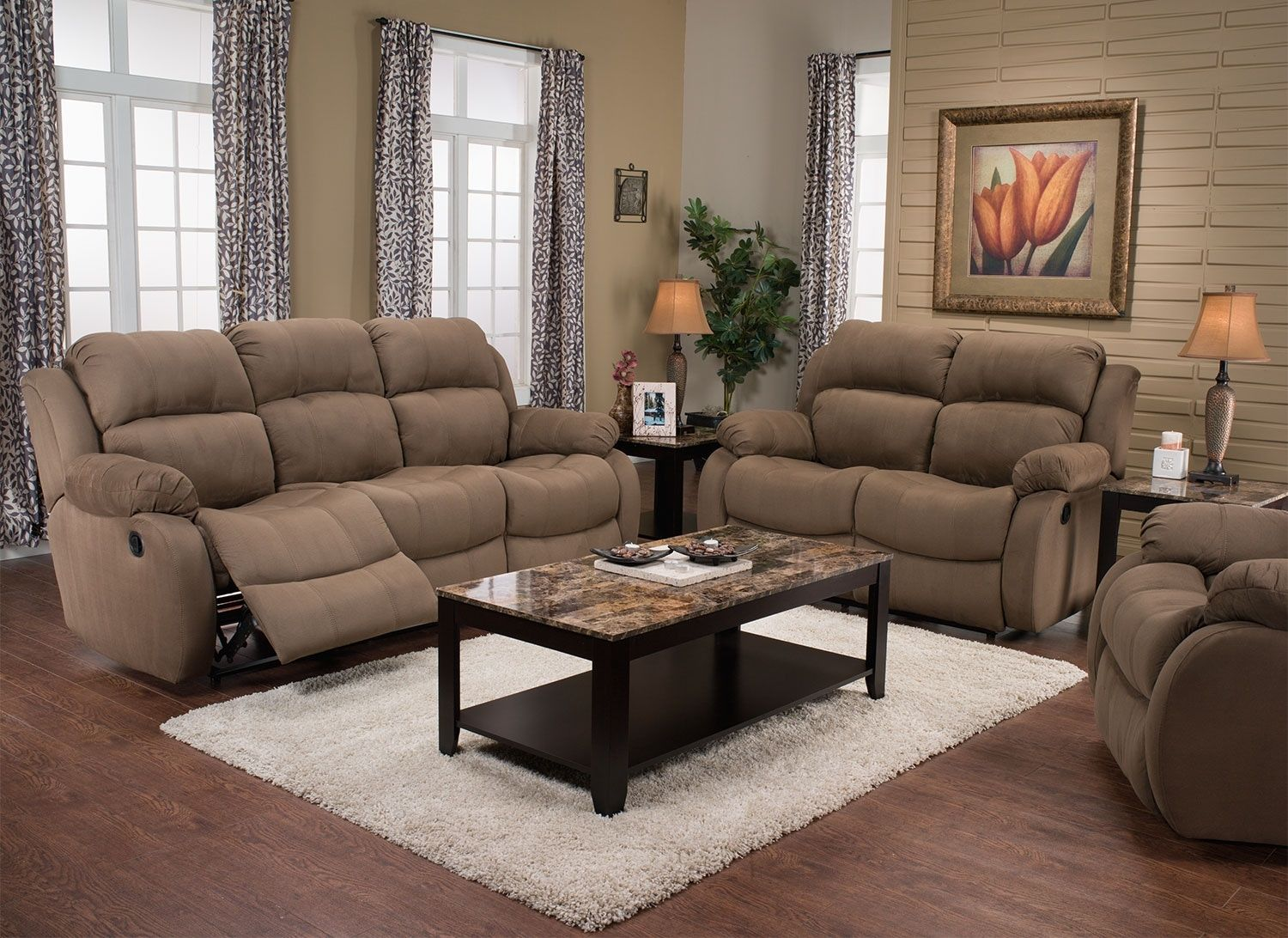 Omega 2 Microsuede Reclining Sofa Mocha Furniture
