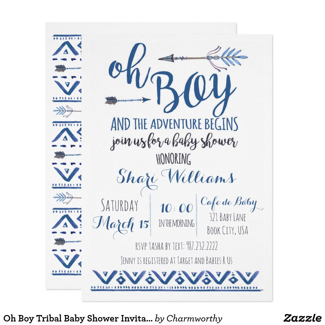 Oh Boy Tribal Baby Shower Invitation -CUSTOM | Tribal baby shower ...