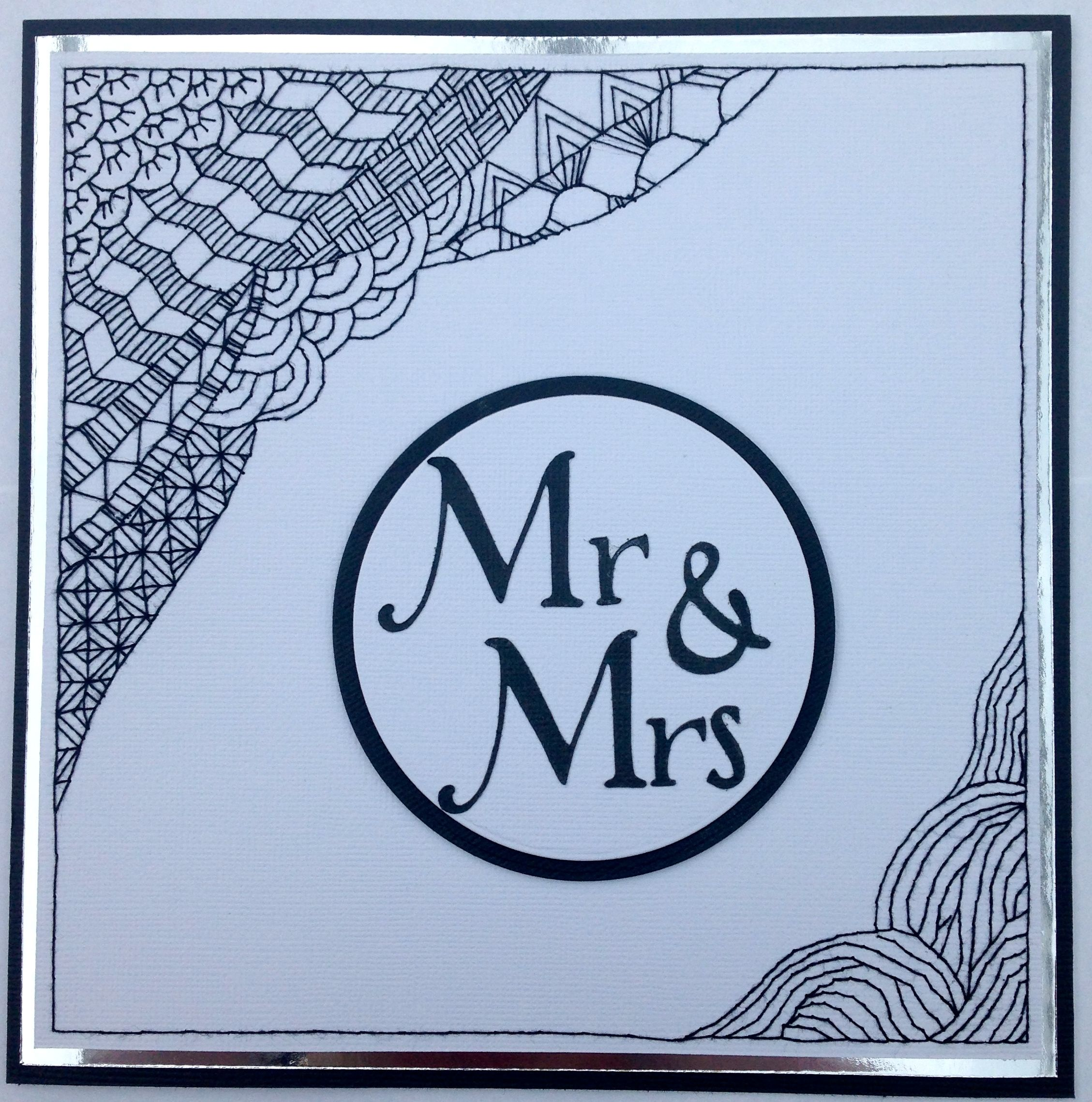 stitched zentangle wedding card zentangle pinterest