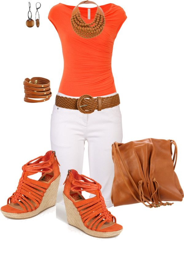 """""""orange and tan"""" by johnna-cameron on Polyvore"""