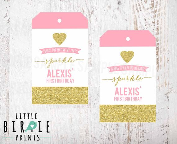 GOLD AND PINK Birthday She leaves a sparkle wherever she goes Favor Tags Matches Invitation