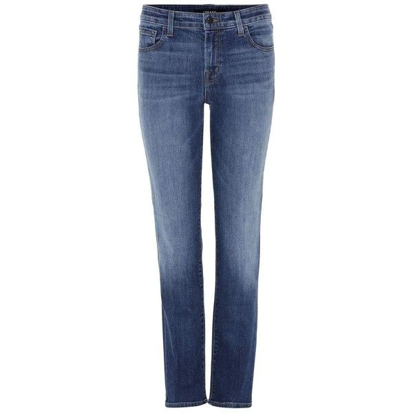 J Brand Amelia Mid-Rise Straight Jeans ($175) ❤ liked on Polyvore featuring jeans, pants, blue, skinny, j-brand straight leg jeans, straight leg jeans, skinny straight jeans, skinny straight leg jeans and skinny leg jeans