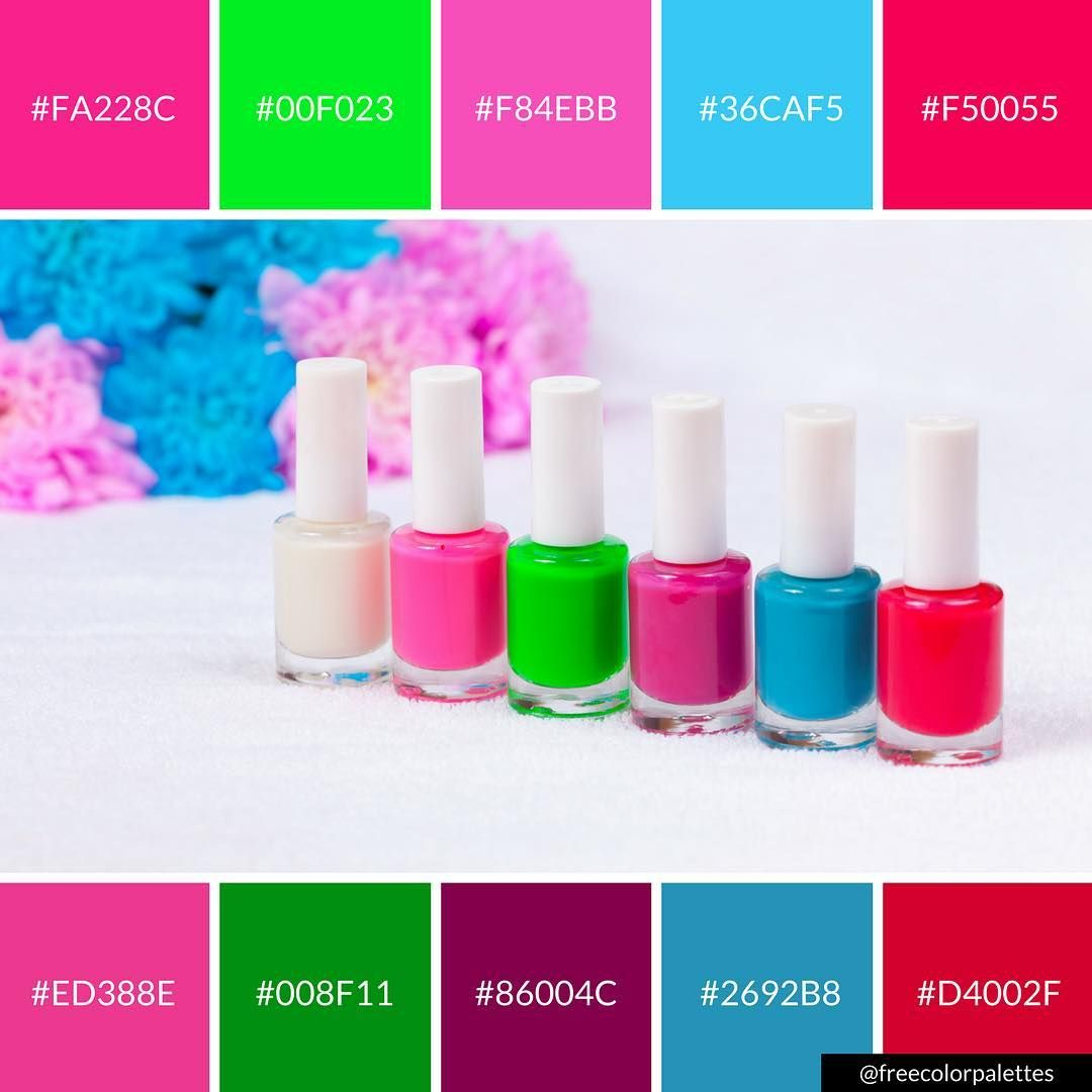 Nail Polish Bright Vibrant Colors Color Palette Inspiration Digital Art And Brand