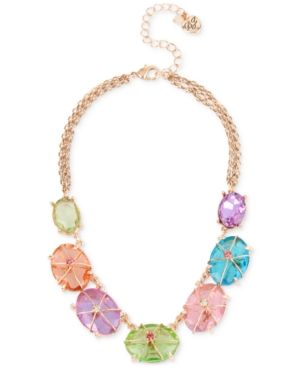 Betsey Johnson Rose Gold-Tone Large Multicolor Stone Collar Necklace - Multi