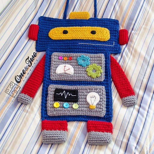 Robot Organizer pattern by Carolina Guzman