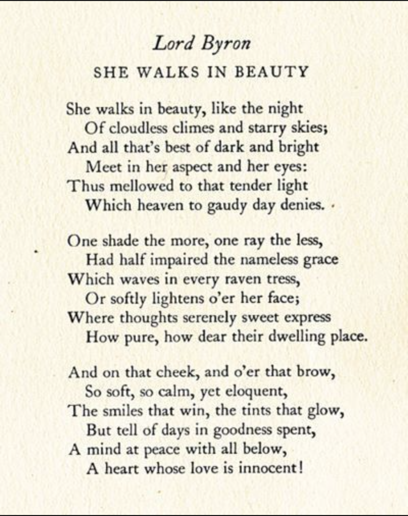 Literary Device Analysi Of She Walk In Beauty By Lord Byron Word Beautiful Poetry Quotes Annabel Lee