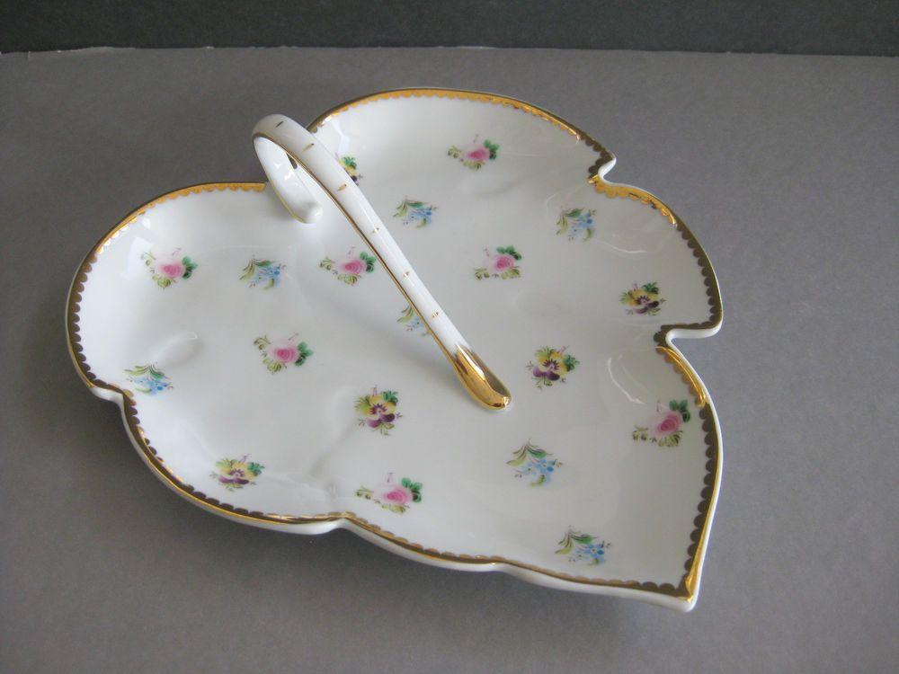 I Godinger & Co. Rosebud Pattern  8 inch Leaf Candy Dish Tray Gold Trim  #IGodingerCo
