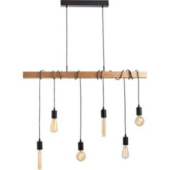 Suspension, e27 style industriel Townshend bois hètre 6 x 60 ...