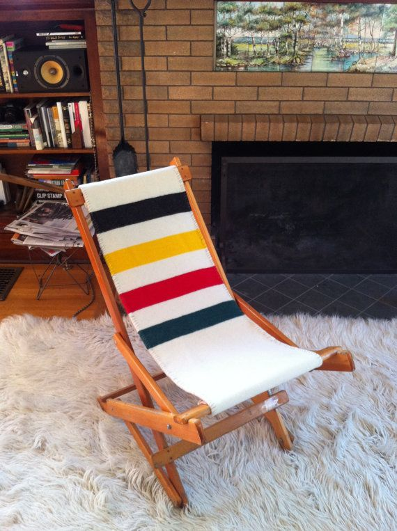 Vintage Indian Summer Chair Classic Wood Deck Chair W/Pendleton Fabric Over  Thick White Canvas Folds Up Flat Classic Glacier Park Blanket Fabric, ...