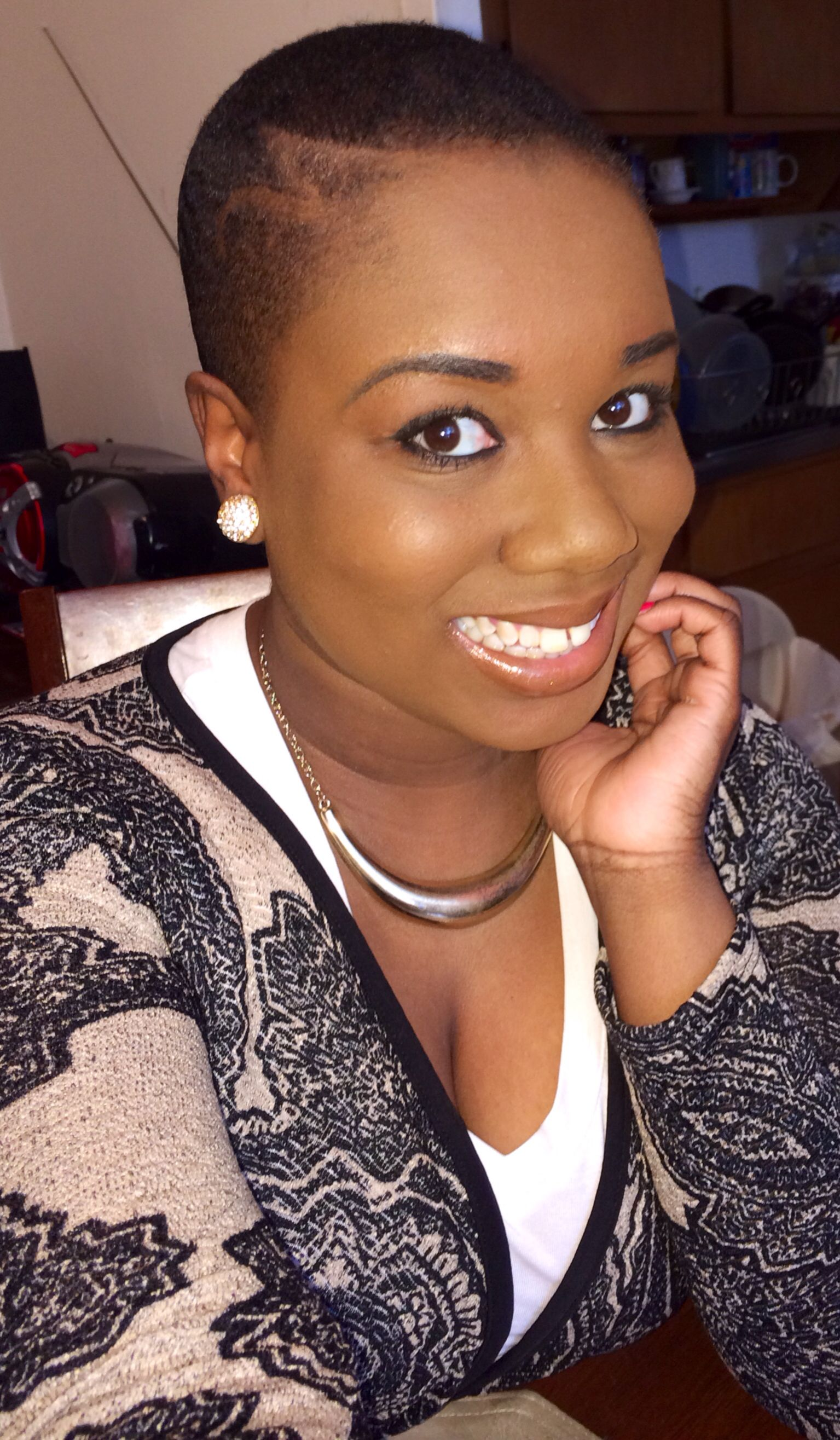 Me. Fade haircut with simple design Natural hair. Big chop. Twa ...