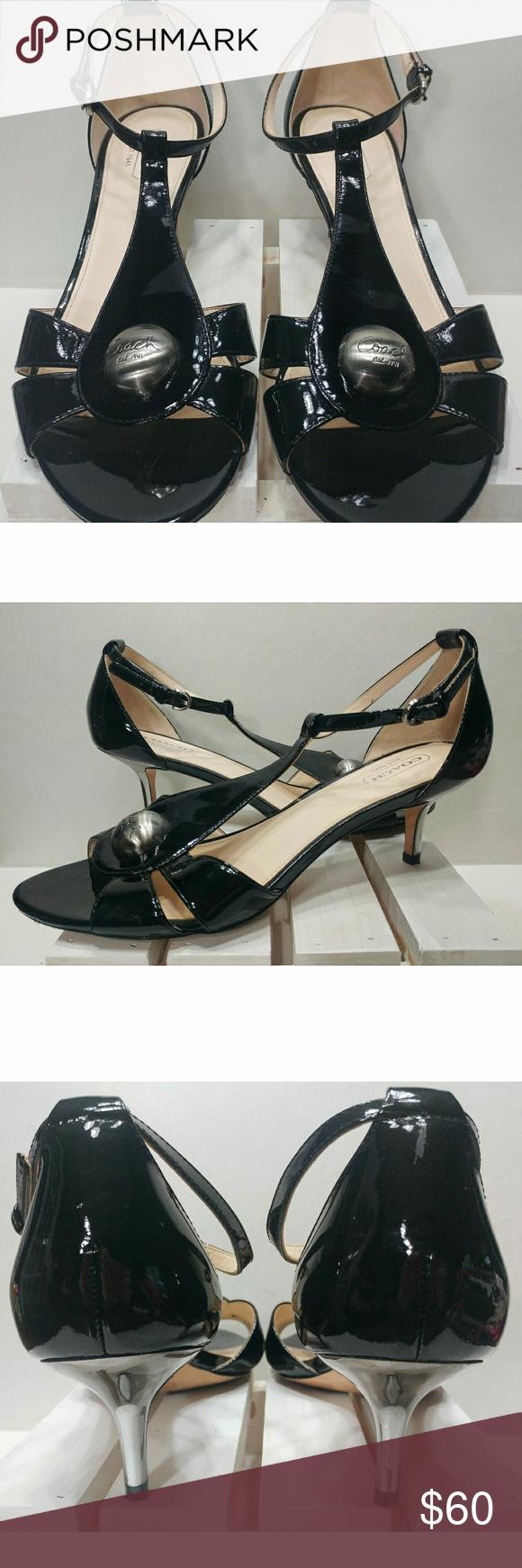 Coach 'Helena' Black Patent Sandals Patent sandals