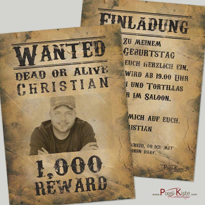 einladungskarte steckbrief / wanted | steckbrief, einladungen und, Einladungen