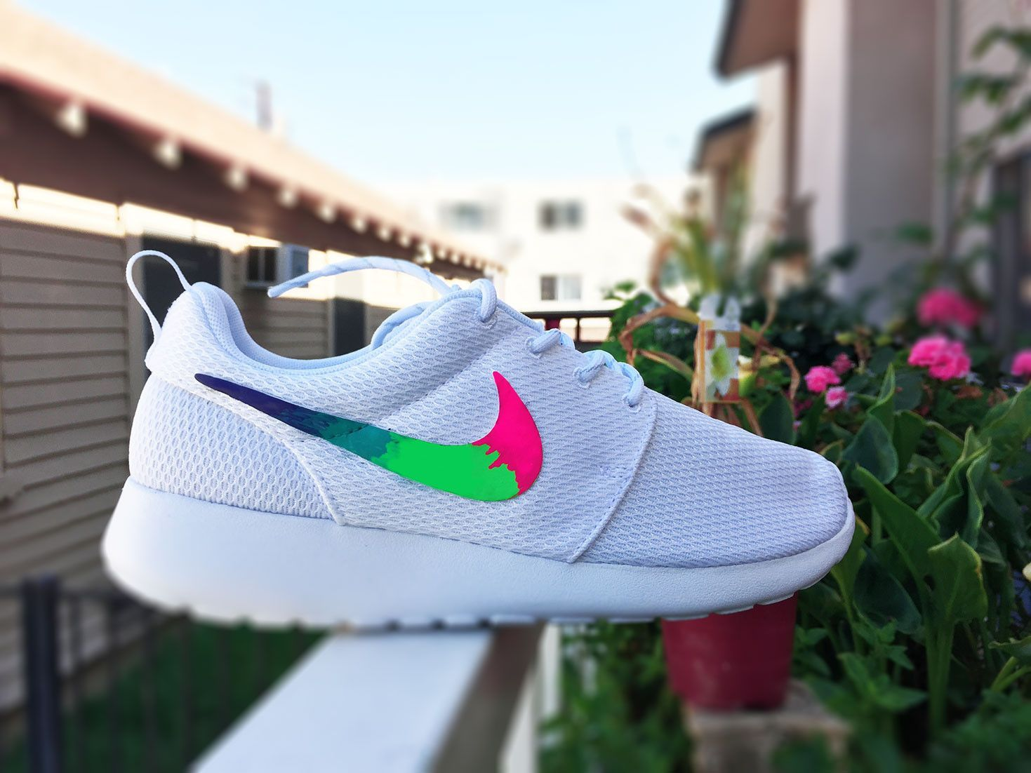 Custom Nike Roshe Run sneakers for women, All white, Rainbow