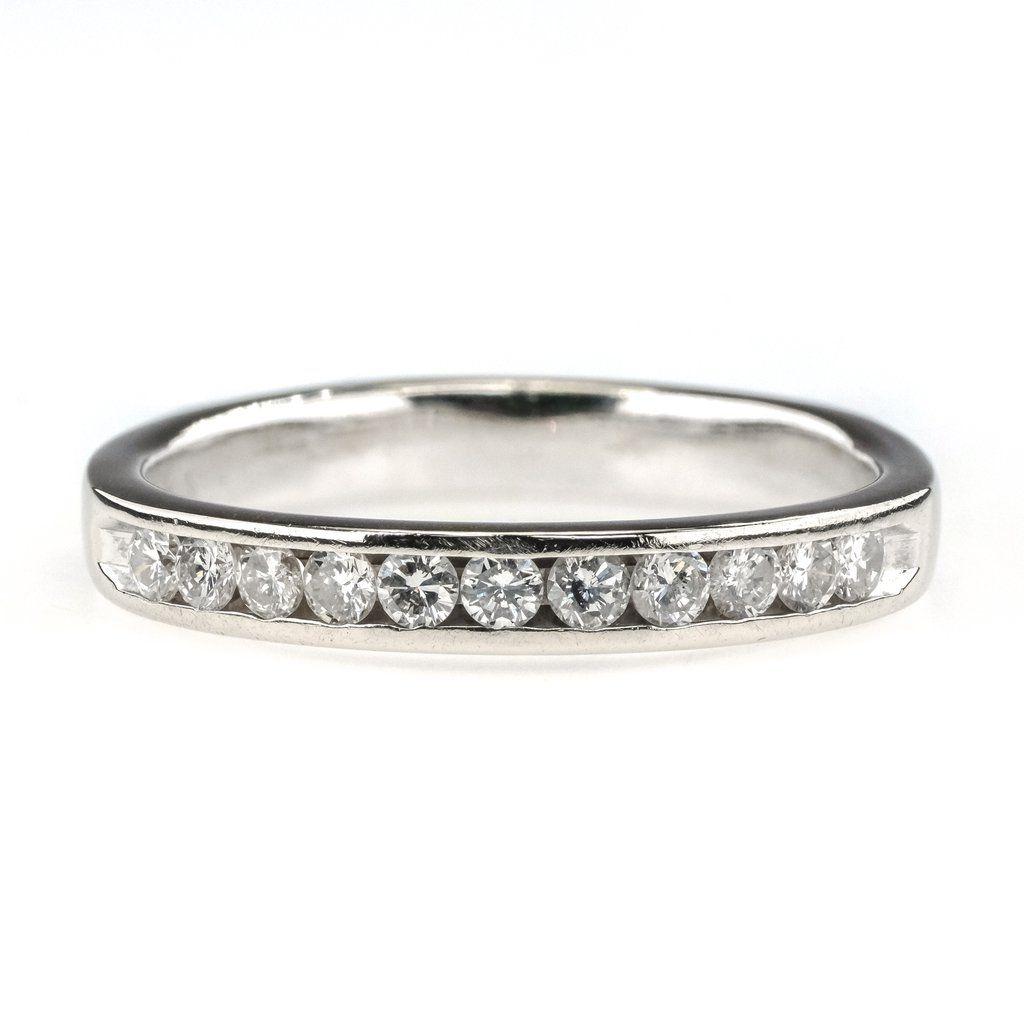 0 50ctw Round Diamond Accented Channel Set Wedding Band In 14k White Gold In 2020 Channel Set Wedding Band Wedding Bands Wedding Ring Bands