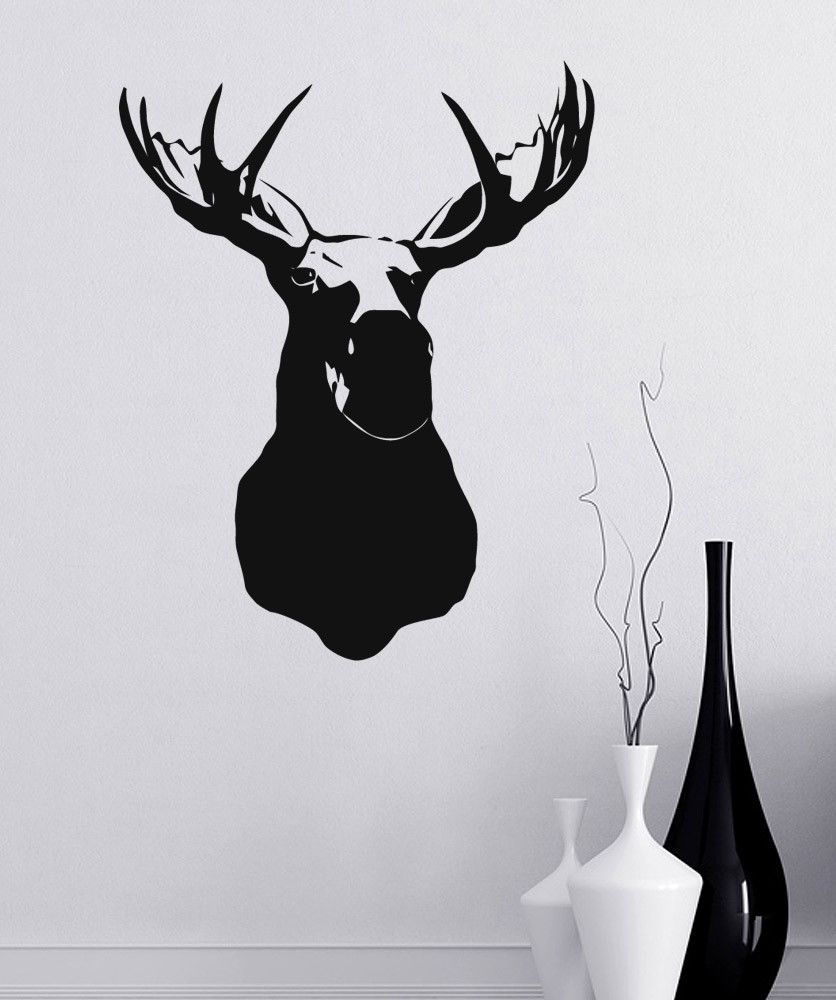 Vinyl Wall Decal Sticker Moosehead On Wall Item 890 Antler Drawing Moose Pictures Cabin Artwork [ 1000 x 836 Pixel ]