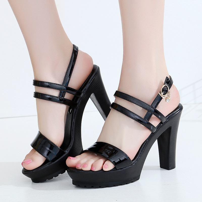 Women/'s Platform Block Heels Sandals Ankle Strap Patent Leather Slingback Shoes