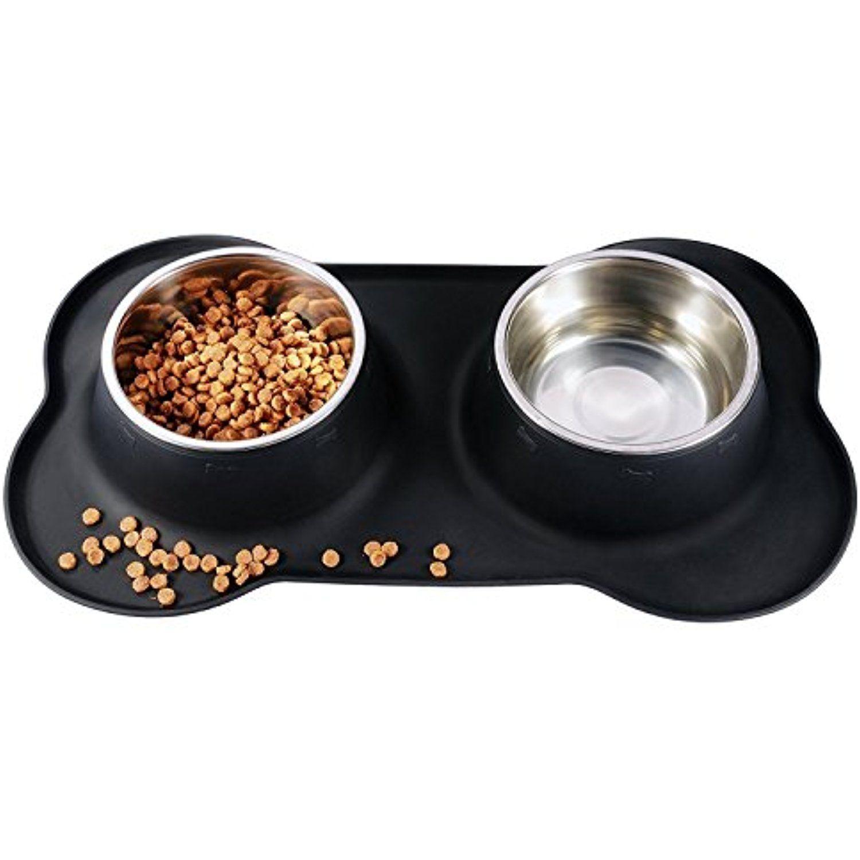 Janpa Pet Dog Bowl Stainless Steel Dog Food Water Bowl With No