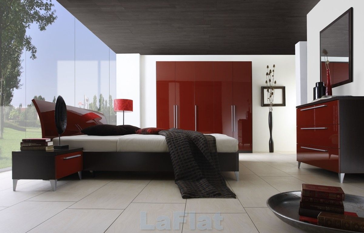 Modern black and red bedroom - Inspiring Red Themed Bedroom Design Ideas Combination Of Red Black And White Bedroom With Half Glass Wall And Classy Bed