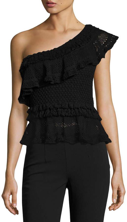 ecfc7bf0ac Jonathan Simkhai Ruffle Crochet High-Low Peplum Top