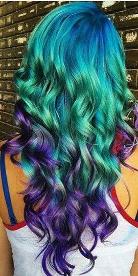 Blue green purple hair