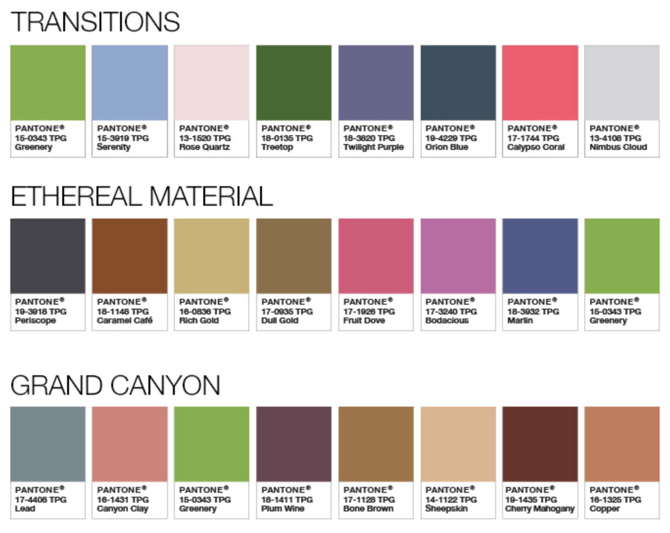 Pantone Color Palettes 2017 Transitions Ethereal Material Grand Canyon