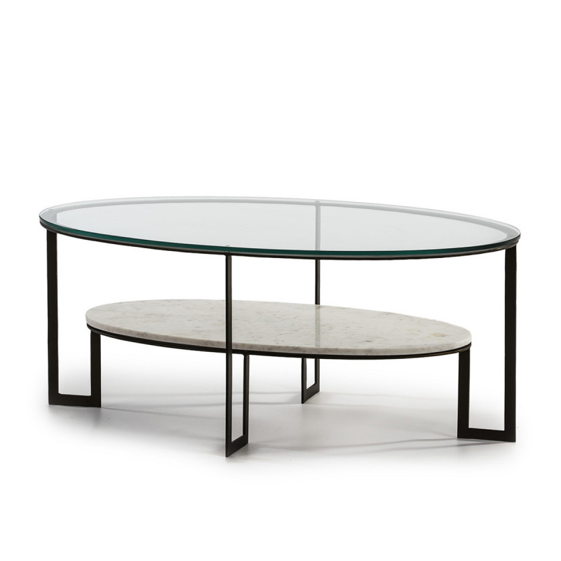 Table Basse Ovale 2 Plateaux Verre Transparent Et Marbre Blanc Kenza Photo 1 In 2020 Coffee Table Home Decor Table