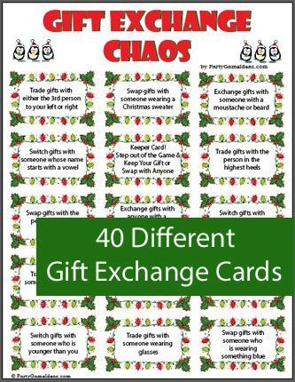Gift Exchange game includes a variety of gift exchange cards and blank  cards too. Look like fun. - Christmas Gift Exchange Chaos - Printable Game Work Christmas