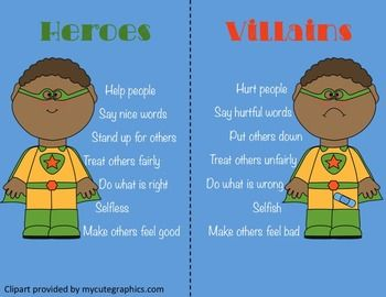 First Grade Classroom Guidance Lesson Bullying Heroes And Villains 2158514 Teaching Resources Teacherspaytea Guidance Lessons First Grade Classroom Classroom