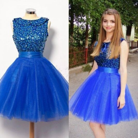 a9f9b75c76a9d Puffy Tulle Royal Blue Homecoming Dress