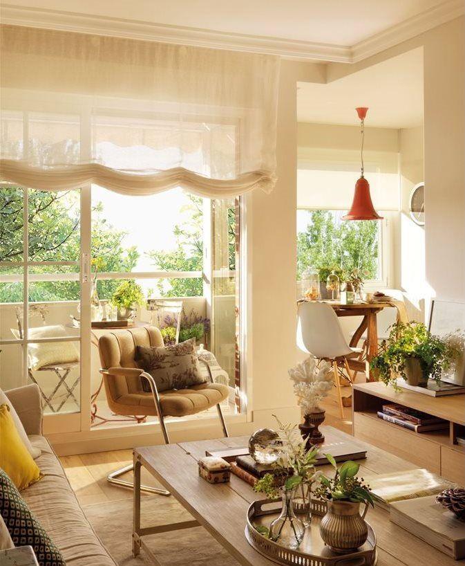Salón hacia la terraza y el office cortinas Pinterest Las