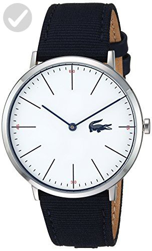 Lacoste Men's 'MOON ULTRA SLIM' Quartz Stainless Steel and Nylon Casual Watch, Color:Blue (Model: 2010914) - Mens world (*Amazon Partner-Link)