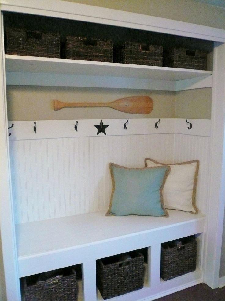 Delicieux Closet Turned Into A Bench With Storage For Shoes And Hooks For Coats And  Dog Leashes