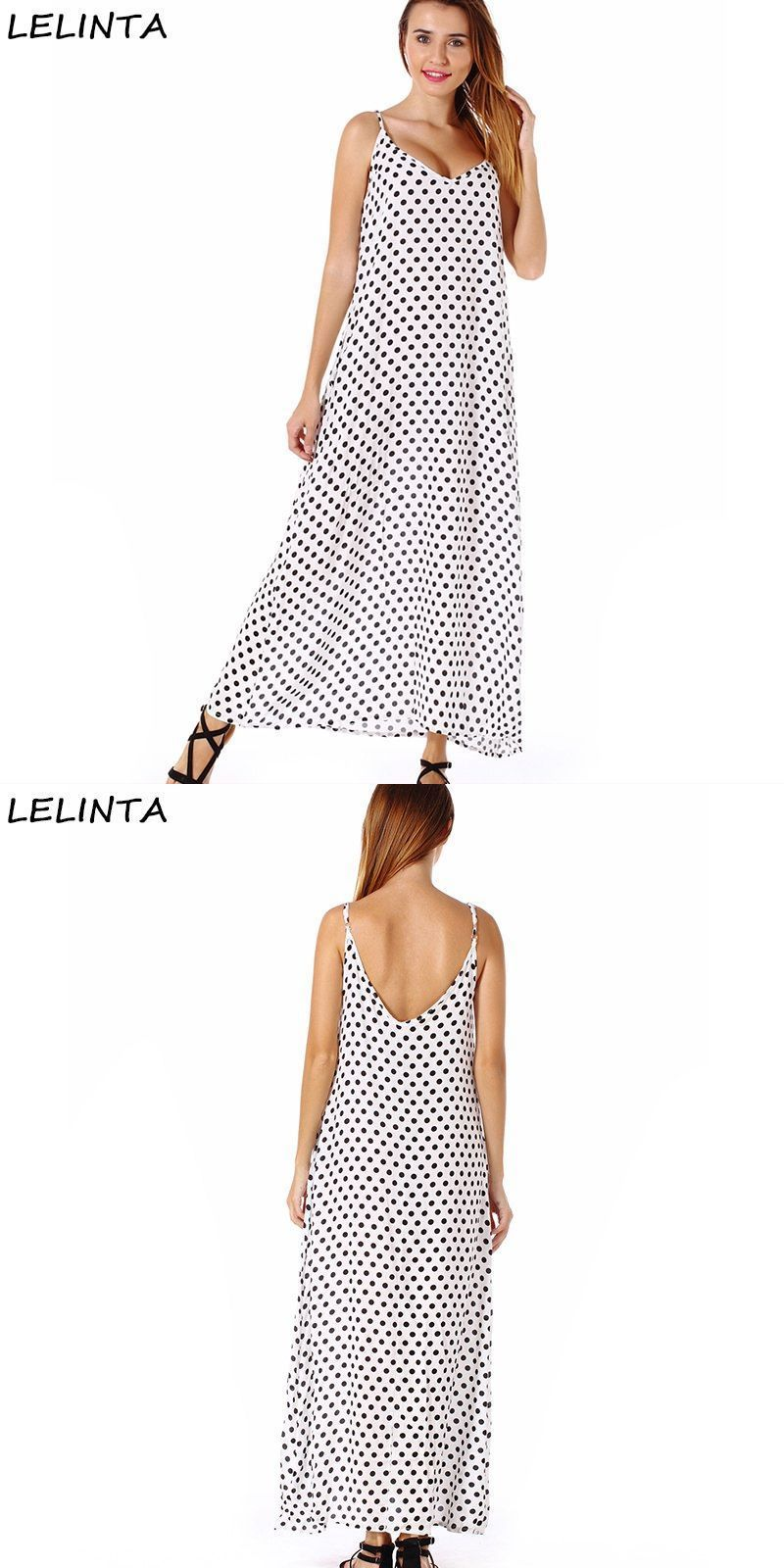 Women fashion bohemian v-neck big swing long dress sexy and loose white red black  dot spaghetti strap dresses for femme  polyester 9ffb1a758