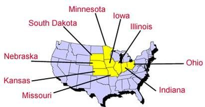 The Corn Belt is a group of states where most of the corn in the