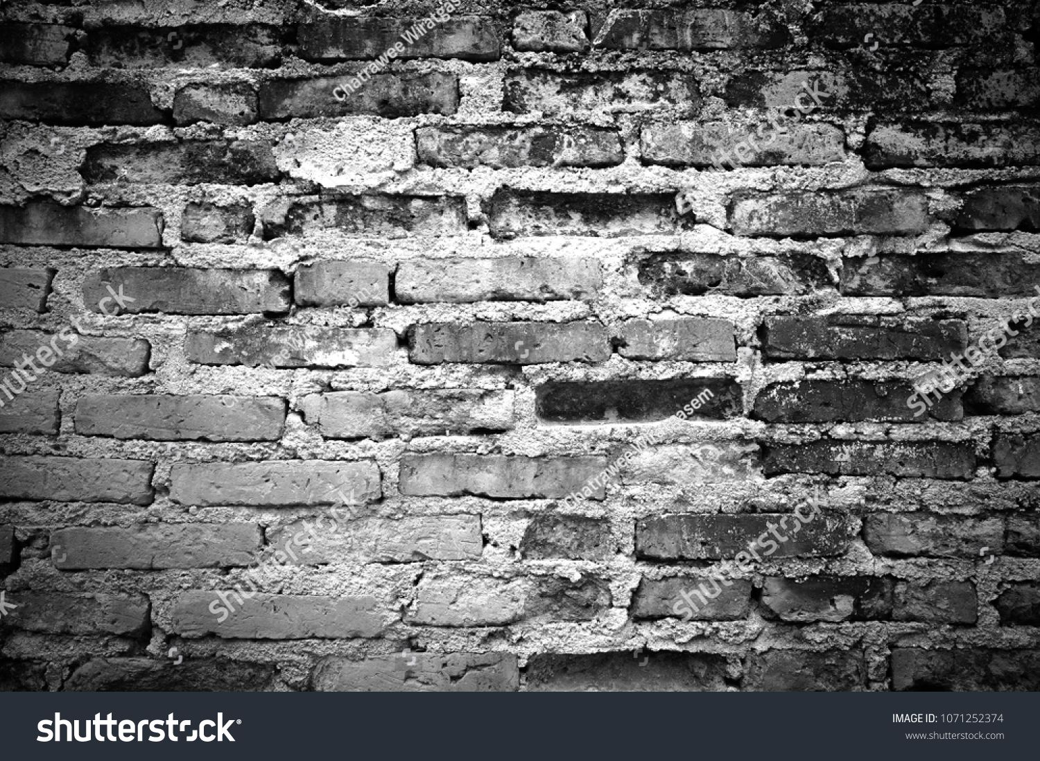 Black And White Pattern Of Old Brick Wall For Texture Background
